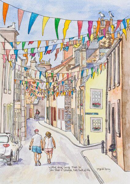 Framed Original 'George Street and John Street, Cellardyke'... £195