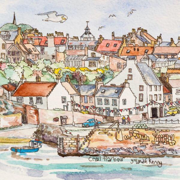 Framed Original 'Crail Harbour'... sold