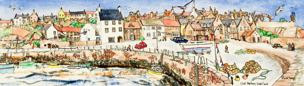 Signed and Limited Edition Panoramic print of Crail Harbour
