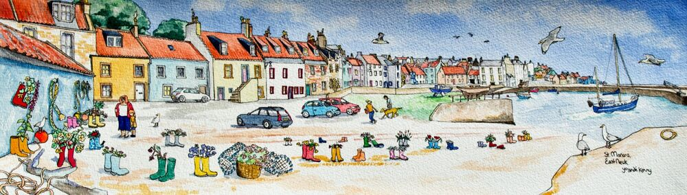 Signed and Limited Edition Panoramic Print of St.Monans' Harbour with its Wellington Boots