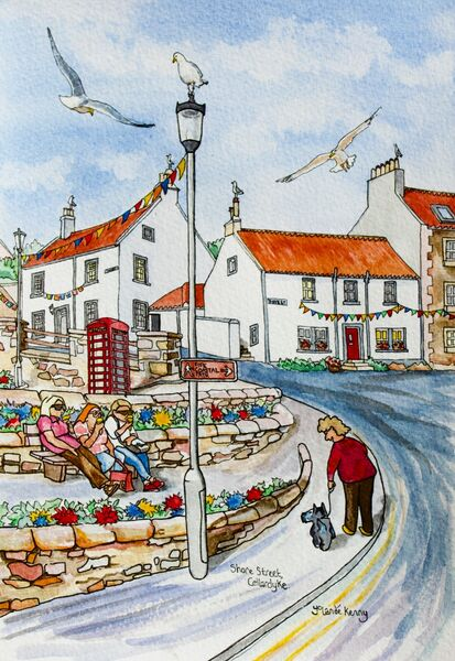 Framed Original Watercolour 'Shore Street, Cellardyke Harbour'... £225