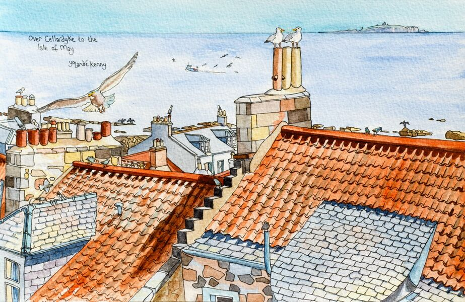 Print 'View Over Cellardyke Rooftops to the Isle of May'... £25