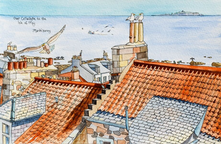 Framed Original Watercolour 'Over Cellardyke to the Isle of May'... £225