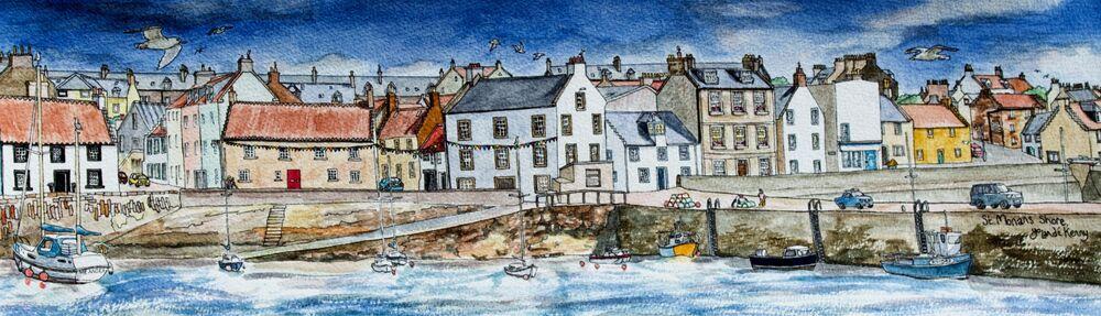 Framed Original Watercolour 'St.Monans' Shore'