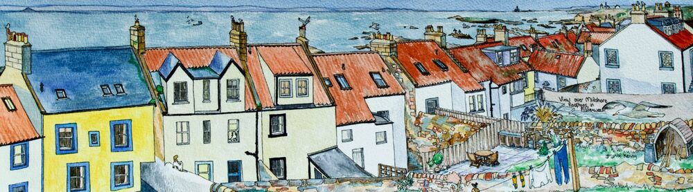 Framed Original Watercolour 'View over Midshore Rooftops in Pittenweem'