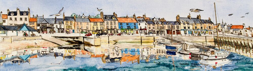Framed Original Watercolour 'Anstruther Seafront'... Sold