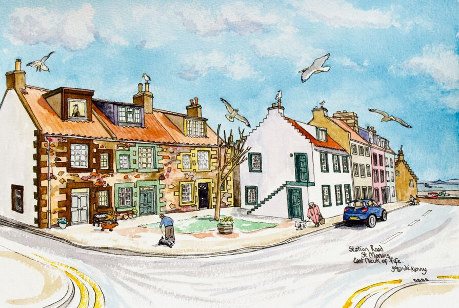 Framed Original Watercolour 'Station Road, St.Monans'