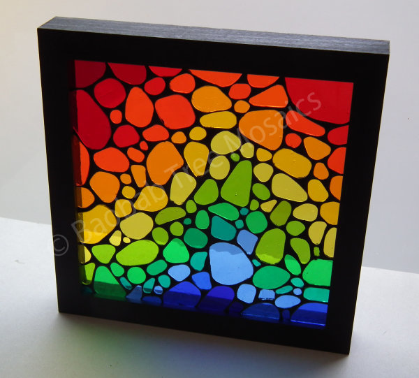 Rain bow pebble framed mosaic