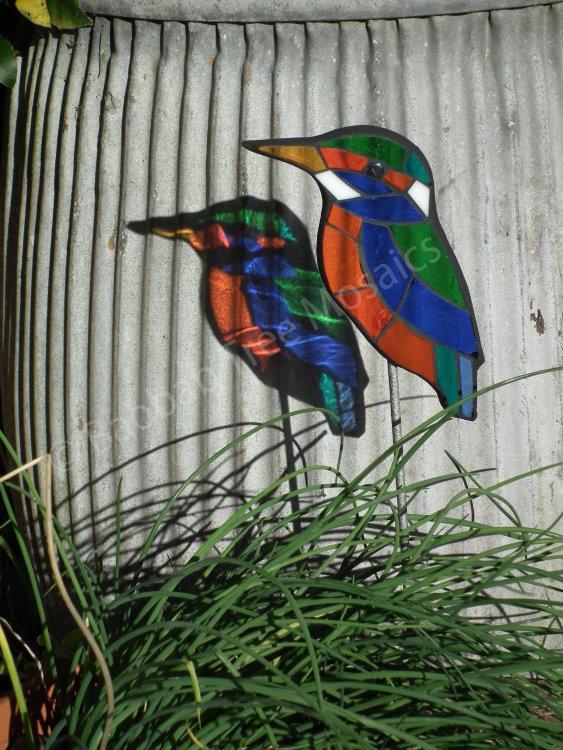 mosaic kingfisher pot plant stake