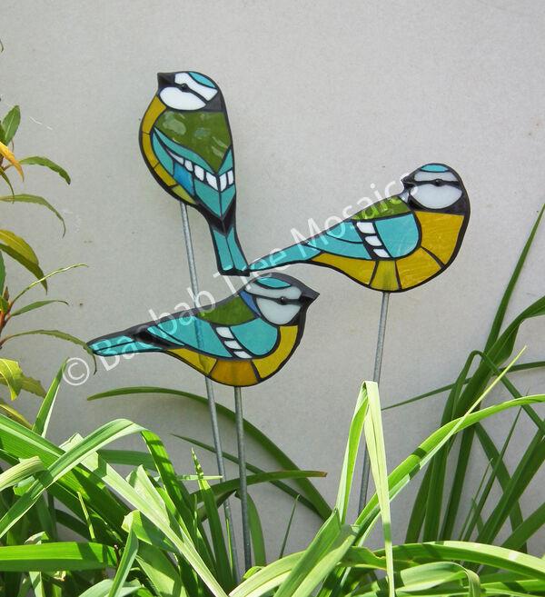 glass mosaic blue tit garden stake