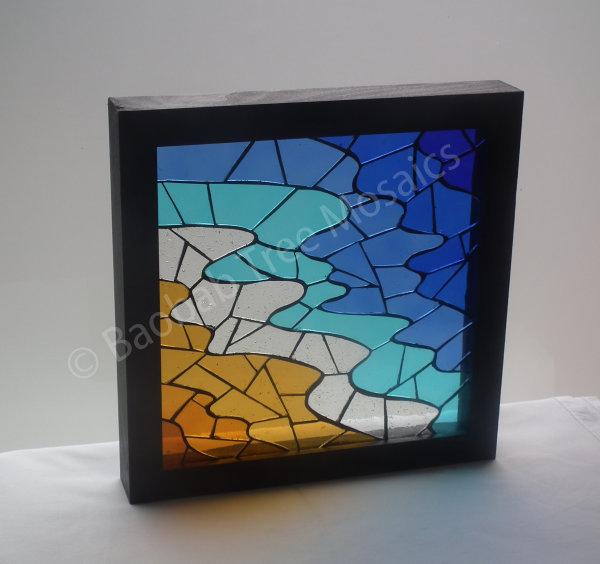 Seaside framed glass mosaic