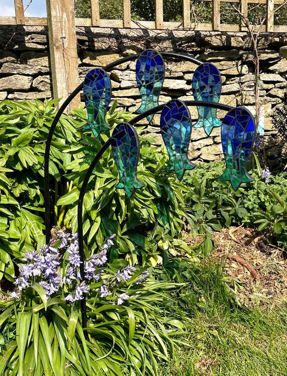 bluebell glass garden stakes