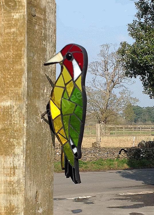 glass mosaic green woodpecker