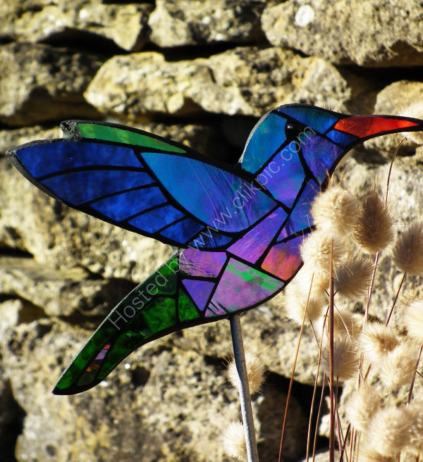 mosaic hummingbird garden stake