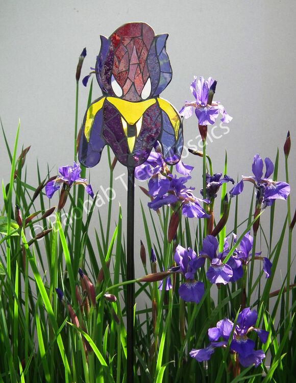 Large iris glass garden stake