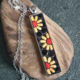 Ceramic rectangular daisy pendant