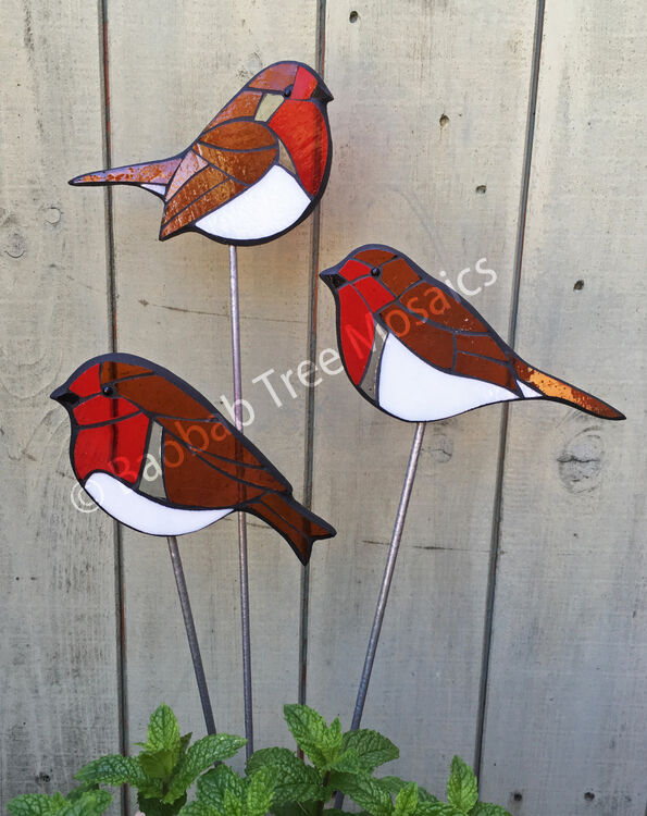 glass mosaic robin garden stakes