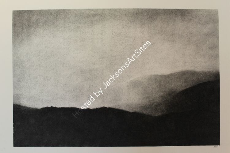 Ben Lawers Range from Glen Quaich.  Willow charcoal on A2 white cartridge paper.  52cm x 35cm