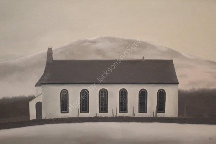 Church at Amulree.  Oil on canvas.  122cm x 91.5cm.  COLLECTION, THE ARTIST.