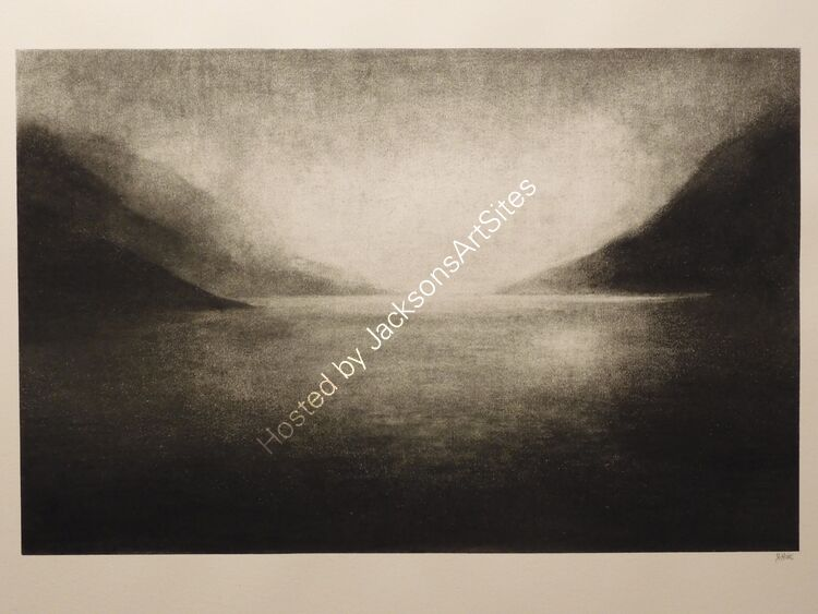 Towards the light.  Willow charcoal on A2 white cartridge paper.  Image size 50cm x 32cm.  Available via my Etsy shop, see Links section.