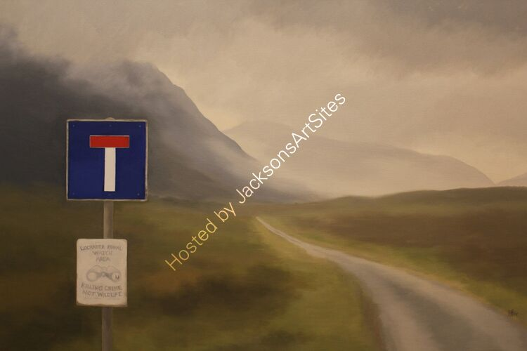 End of the road.  Oil on canvas.  122cm x 91.5cm.  Available from Sproson Gallery, St Andrews.