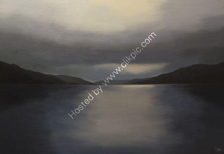 Evening light, Loch Earn. Oil on canvas. 80cm x 55cm.  SOLD