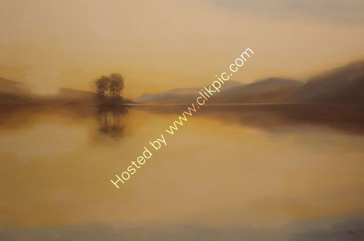 Golden light, Loch Tay. Oil on canvas. 137cm x 91.5cm.  Available from Sproson Gallery, St Andrews.