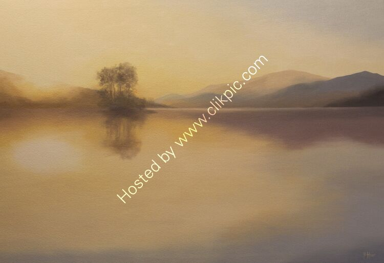 Golden sun, Loch Tatha. Oil on canvas. 80cm x 55cm.  Available from Sproson Gallery, St Andrews.