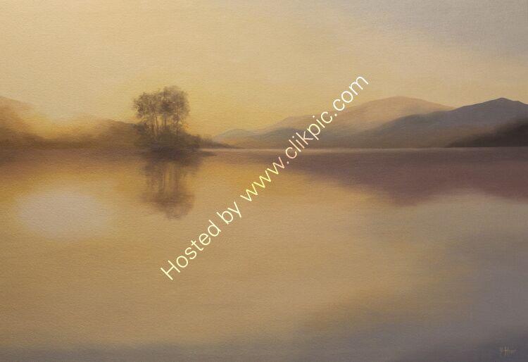Golden sun, Loch Tatha.  Oil on canvas.  80cm x 55cm.  Available from Frames Gallery, (ArTay).