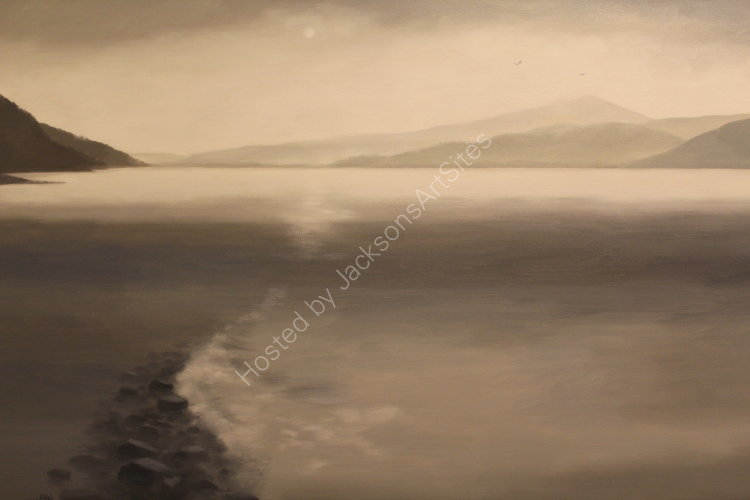 Silver shore, Loch Rannoch. Oil on canvas. 122cm x 91.5cm. Available. Contact me for details.