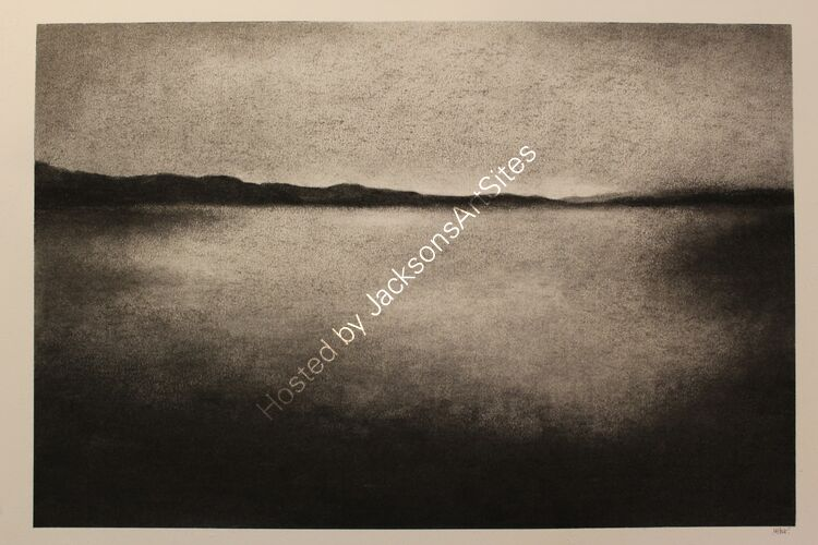 Loch Rannoch. Willow charcoal on A2 white cartridge paper. 52cm x 35cm.  Available via my Etsy shop, see Links section.