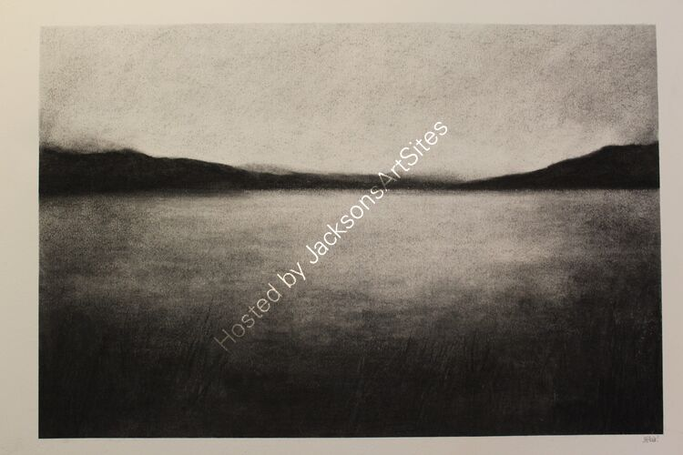 Loch Tay from Fearnan. Willow charcoal on A2 white cartridge paper.  52cm x 35cm.  Available via my Etsy shop, see Links section.
