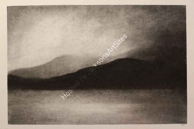 Loch Tay from Kenmore. Willow charcoal on A2 white cartridge paper.  52cm x 35cm.  Available via my Etsy shop, see Links section.