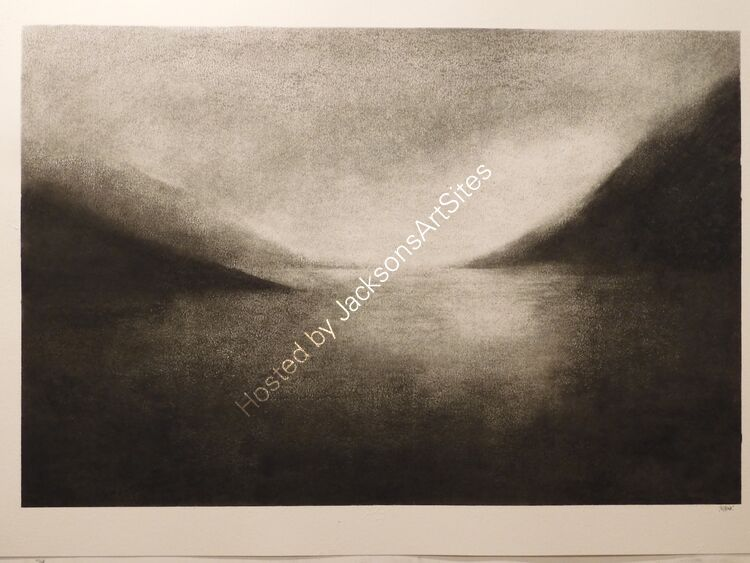 Loch Turret. Willow charcoal on A2 white cartridge paper. 52cm x 35cm.  Available via my Etsy shop, see Links section.