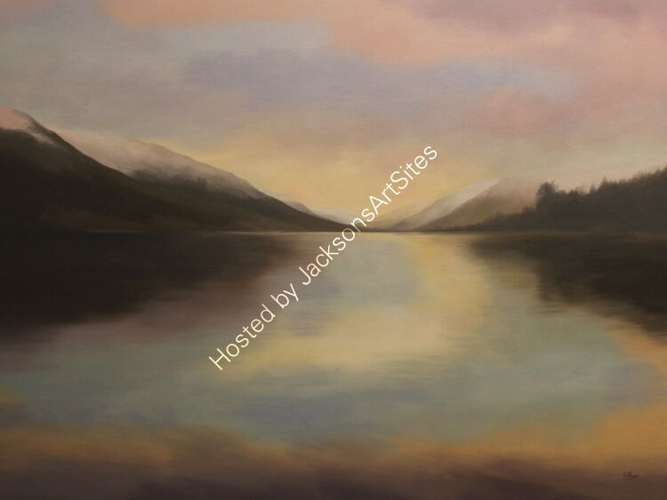 Pastel skies, Loch Voil. Oil on canvas. 122cm x 91.5cm. Available.  Contact me for details.