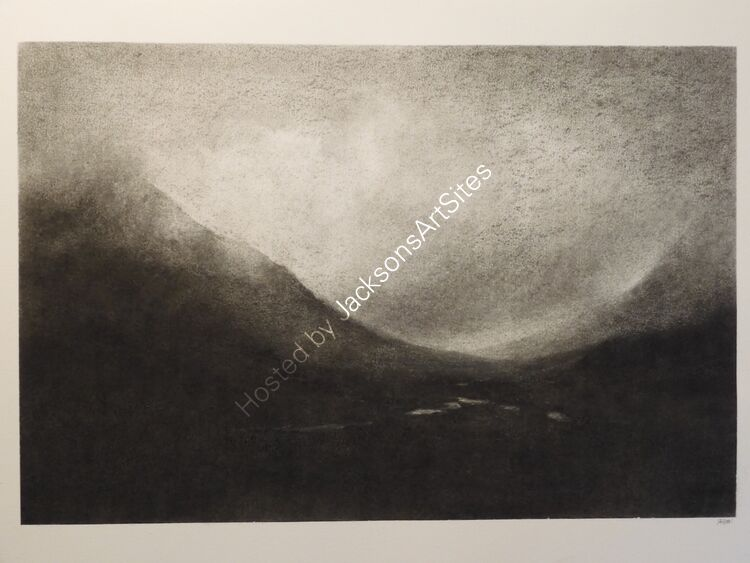 Return to Glencoe. Willow charcoal on A2 white cartridge paper. 52cm x 35cm.  Available via my Etsy shop, see Links section.