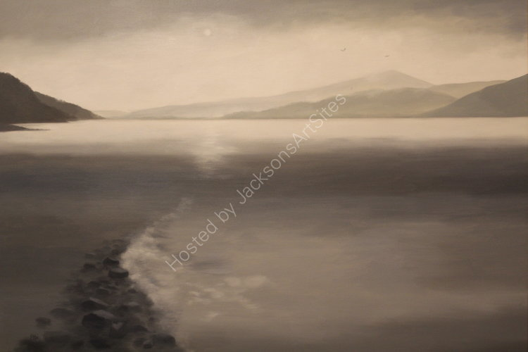 Silver shore, Loch Rannoch.  Oil on canvas.  122cm x 91.5cm.