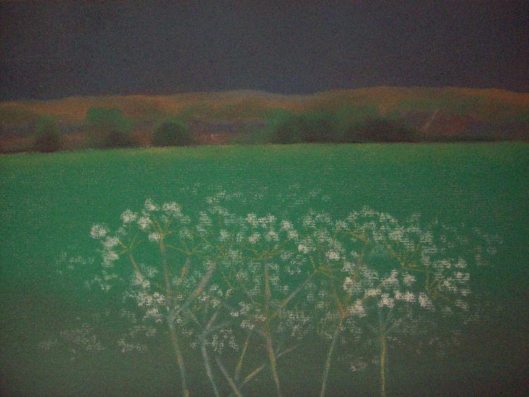 Summer green, Ruthvenfield.  Pastel.  40cm x 30.5cm.  SOLD.