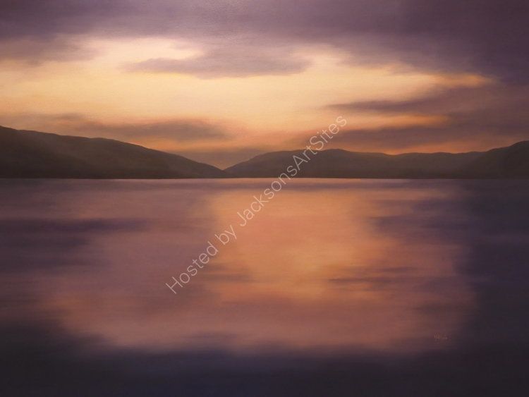 Sunset, Loch Earn.  Oil on canvas.  122cm x 91.5cm.  Available from Sproson Gallery, St Andrews.