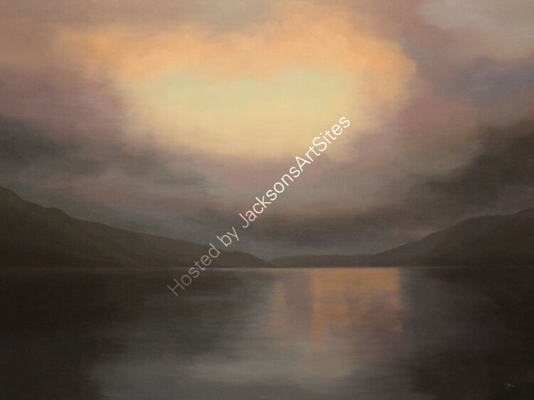 Twilight song, Loch Earn. Oil on canvas. 122cm x 91.5cm.  Available from Sproson Gallery, St Andrews.