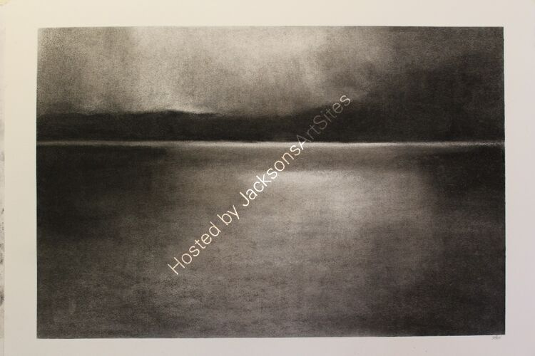 Watching the light, Loch Rannoch. Willow charcoal on A2 white cartridge paper.  52cm x 35cm.  Available via my Etsy shop, see Links section.