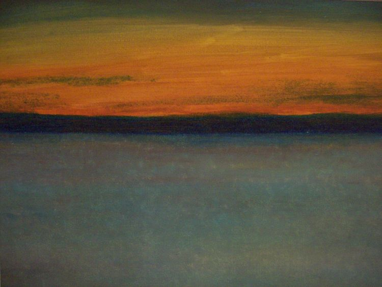 Watching the sunset, The East Neuk.  Oil pastel.  40cm x 30.5cm.