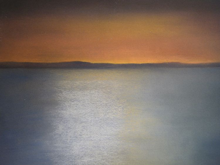 Watching the sunset, from Pittenweem.  Pastel.  54.5cm x 44.5cm (framed).  SOLD.