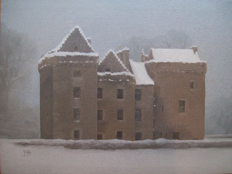 Winter, Huntingtower Castle. Oil on canvas. 41cm x 31cm. COLLECTION, THE ARTIST.