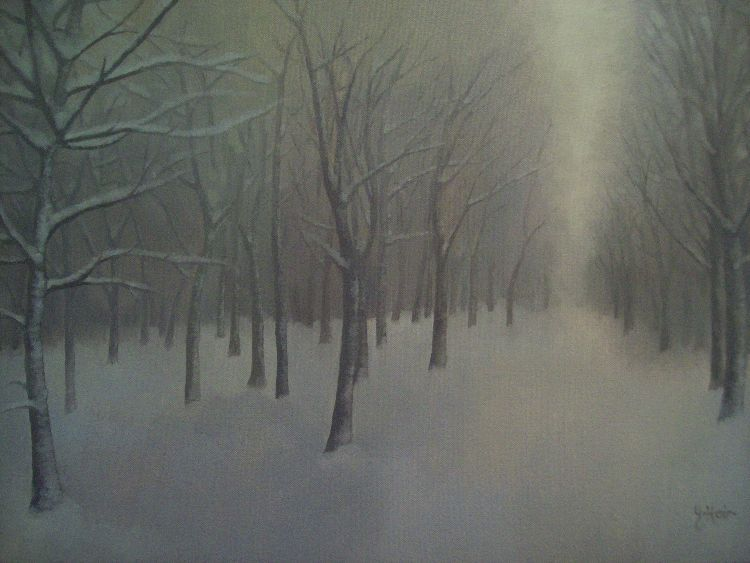 Winter in the Sparrow Wood. Oil on canvas. 78cm x 38cm. COLLECTION, THE ARTIST.