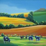 "nature and man work together 3 'Cattle' Oil 16""sq."