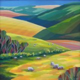 "nature and man work together 7 'Grazing Sheep' Oli 16"" sq."